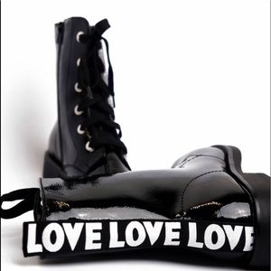 Bamboo Combat Moto Boots - Black Love